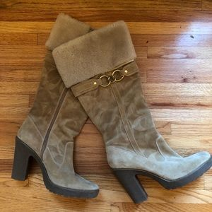 Fur-lined Coach Boots